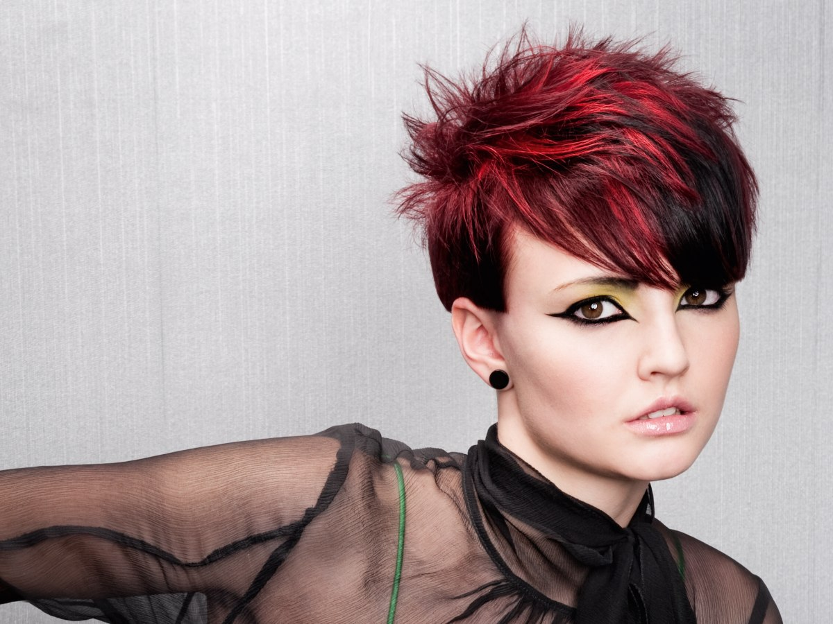 Short spiky haircut with daring hair color contrasts - Crown Hairstyle