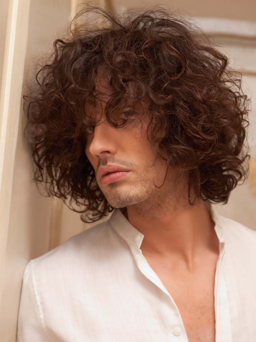 Men S Hairstyle With Large Curls And A Lot Of Motion