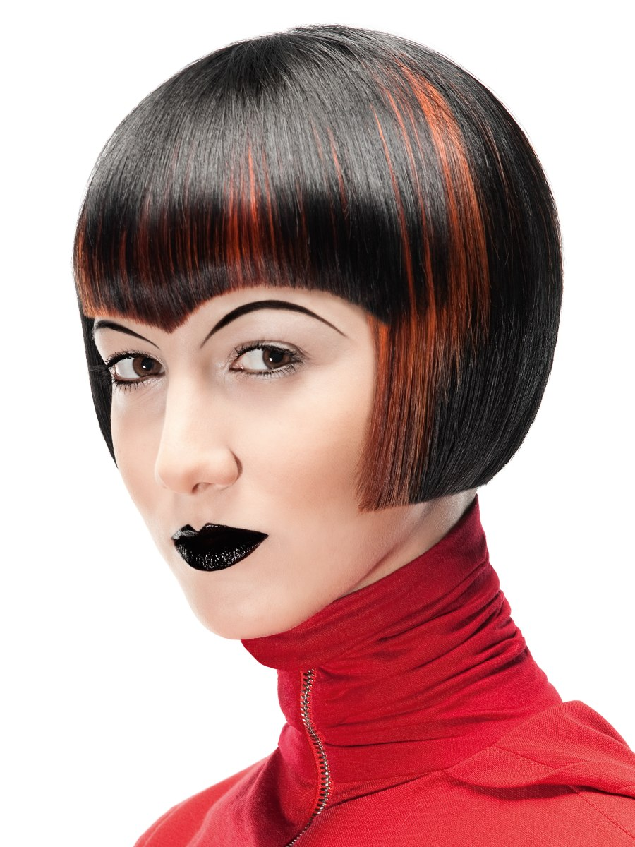Post Punk Modernism Bob With A Curved Fringe And Marbled