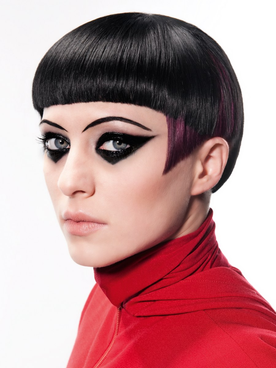 Slick Short Hairstyle With Mid Forehead Bangs And Two Tone