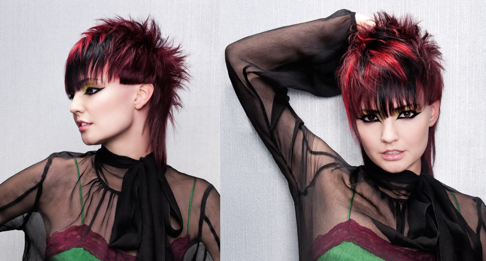 Short spiked hair with a long tapered nape and pink highlights