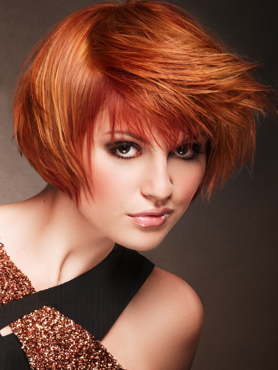 Short coppery red hair, combed forward