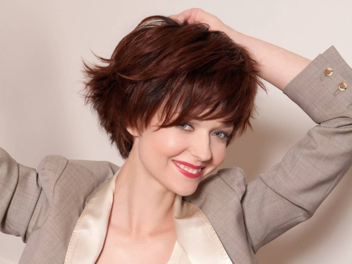 Dynamic and youthful short hairstyle with a steeply ...