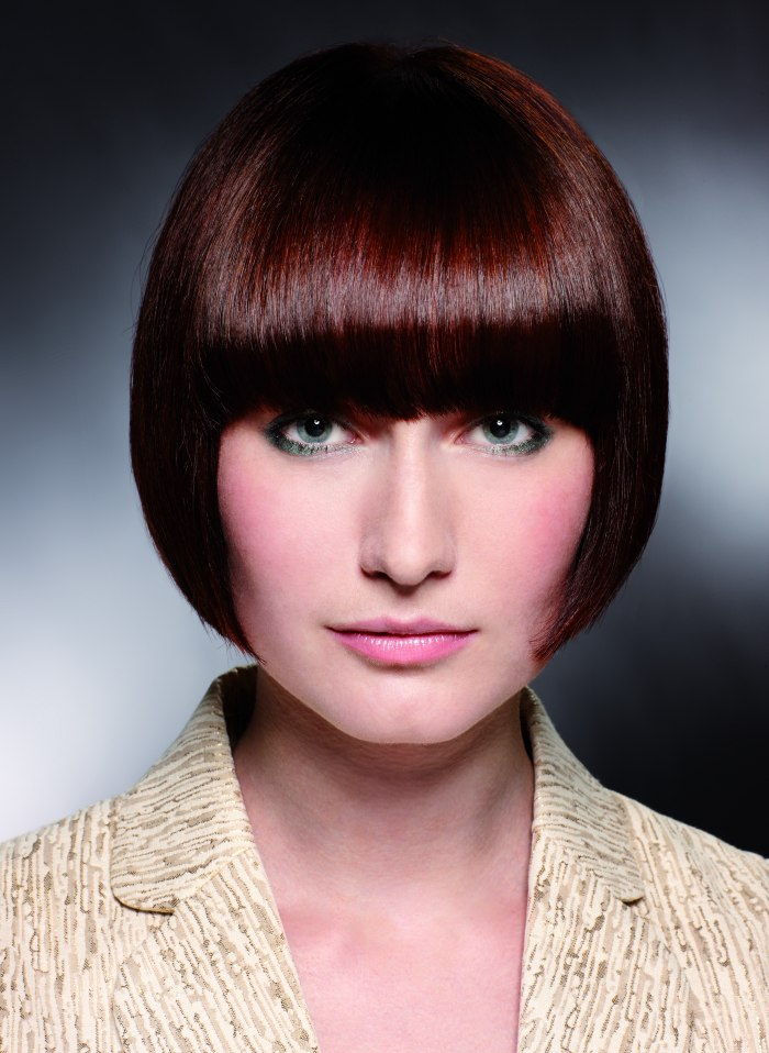 Short Pageboy Cut With Bangs That Cover The Eyebrows