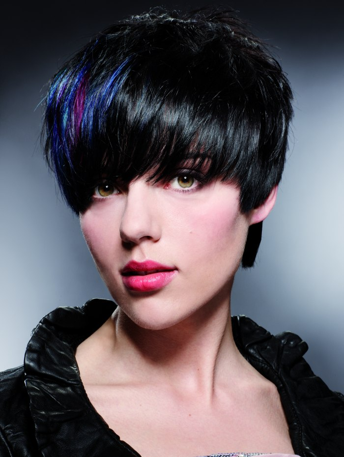 Short black haircut with a blue streak