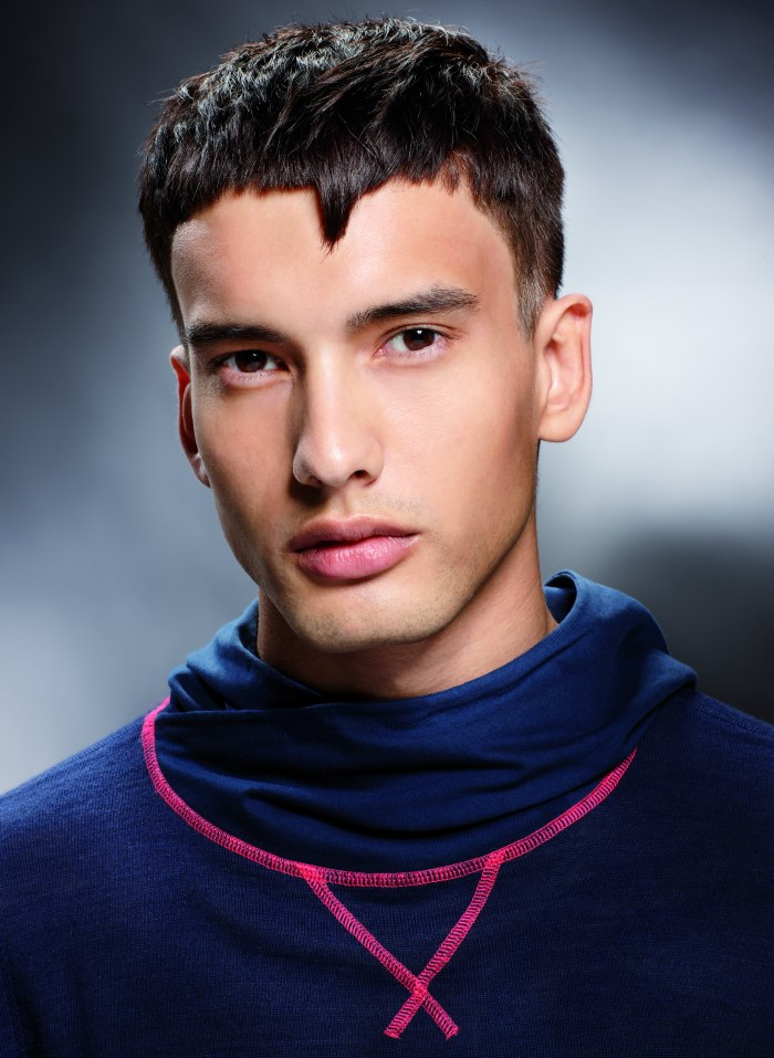 Short Mens Haircut With A Triangle On The Forehead