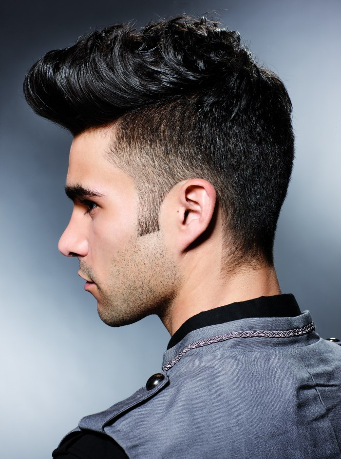 side view of a fifties hairstyle with a quiff