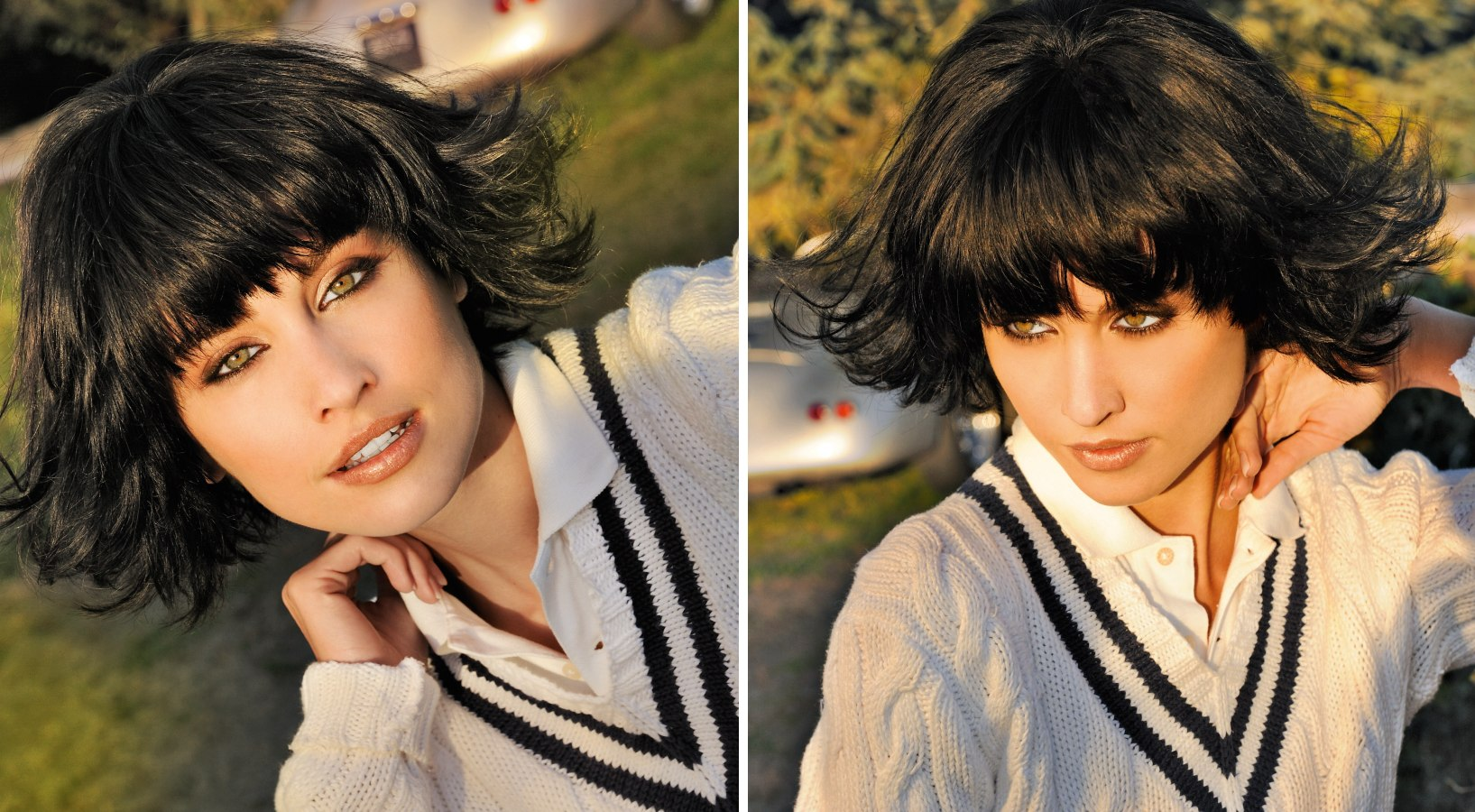 Versatile Wispy Bob With Bangs That Barely Cover The Eyebrows