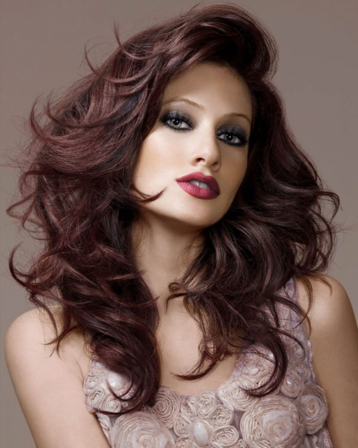 Long Hairstyle With A Lacquered Fringe Brown Hair With A