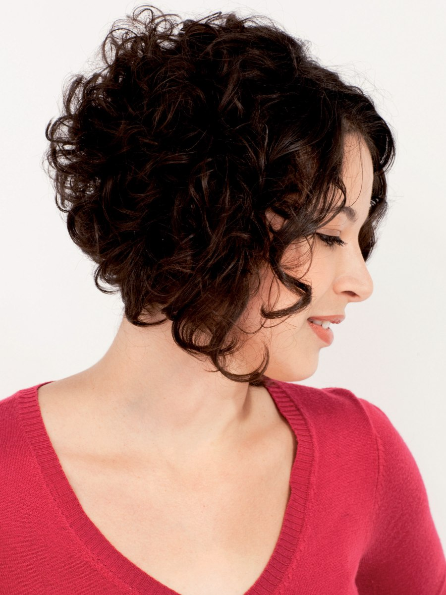 fullness for curly hair with an a-line cut, stacked bob or wedge cut
