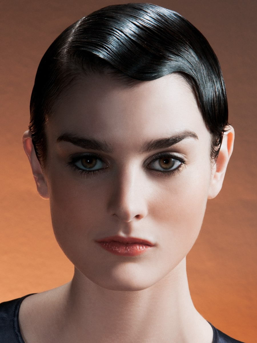 Slick retro glam look for a short pageboy cut | Styled with pomade