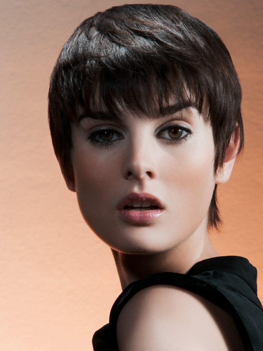 Cool Very Short Haircut With Long Bangs And Lots Of Layers Short Hairstyles For Black Women Fulllsitofus