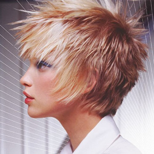 Short crop hairstyle with frosted spikes
