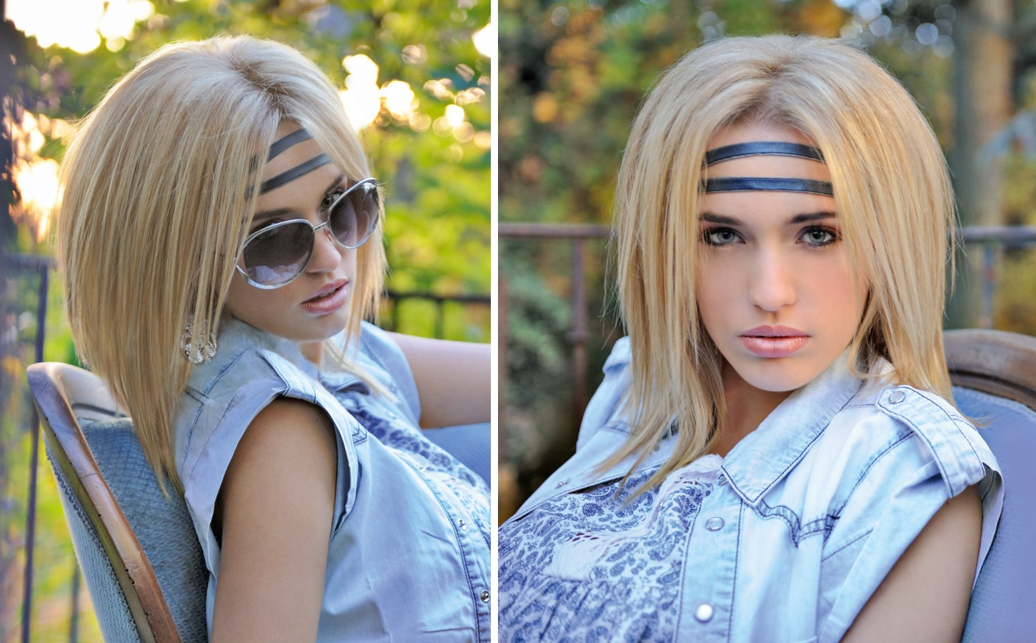 Long A Line Cut And A Fashionable Double Headband Made Of