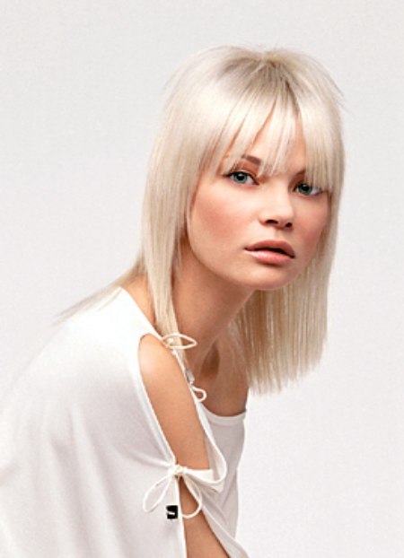 Long Silky Bob With Bangs For Platinum Blonde Hair