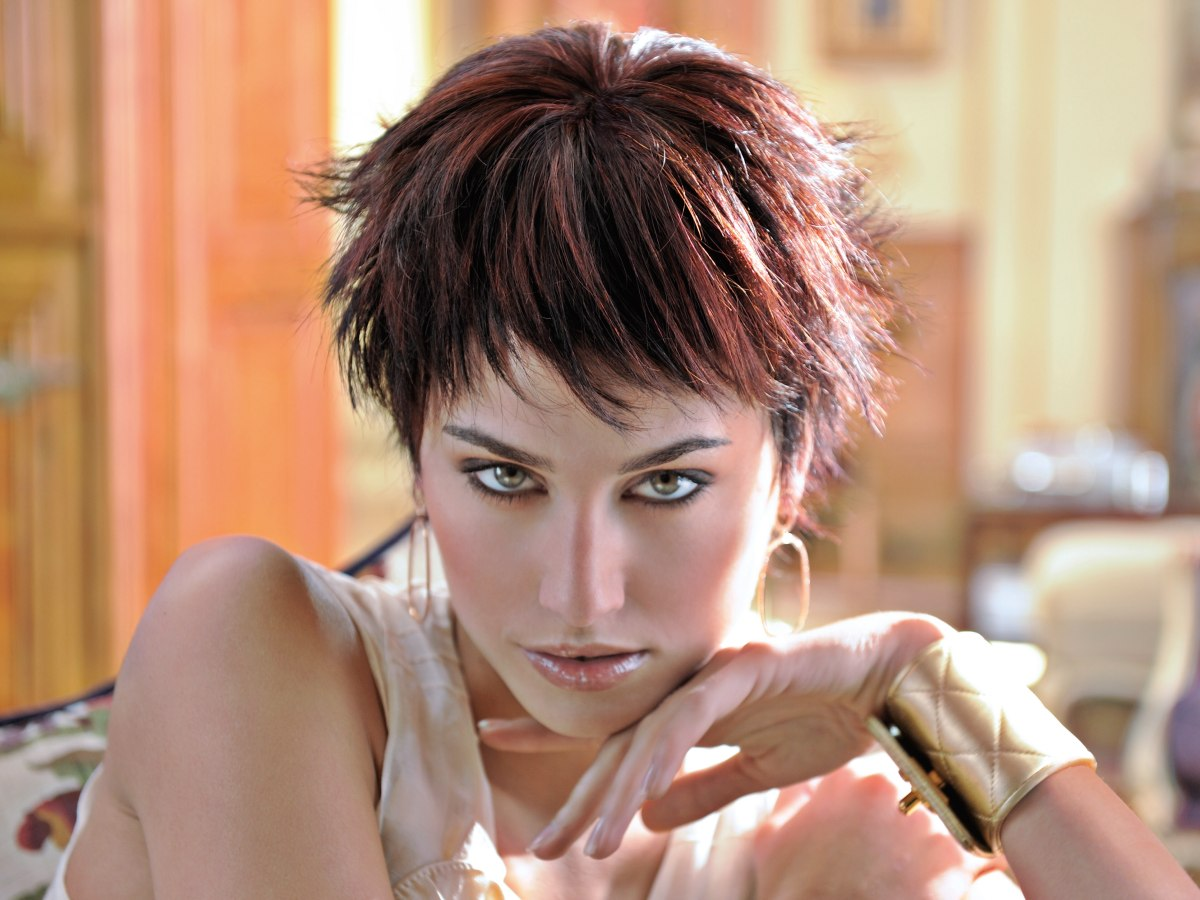 Short Pixie Haircut With Heavily Textured Short Bangs And