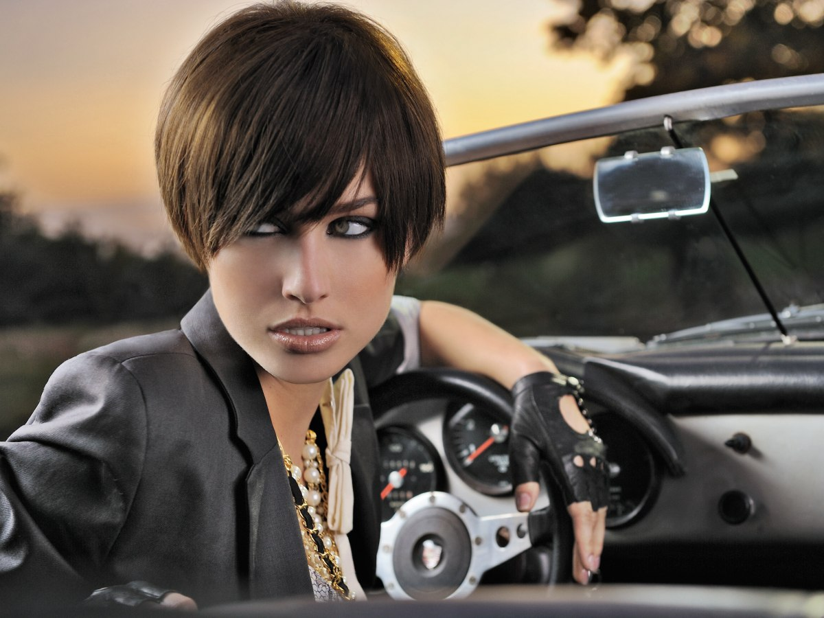 Short Hairstyles With Bangs: Cute Short Hairstyle With A Graduated Back And Long Bangs