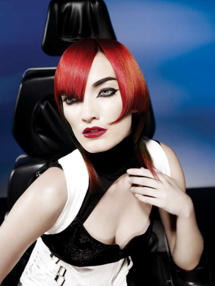 Geometric Haircut With Bright And Extreme Hair Colors