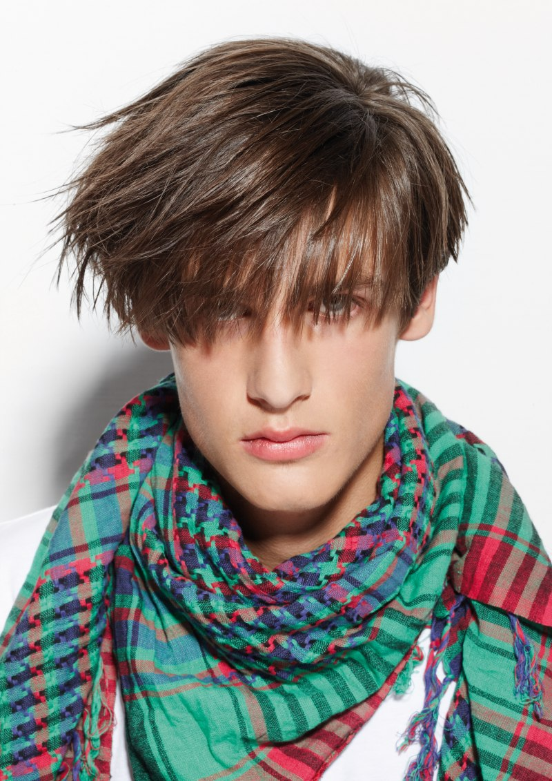 Men's Haircut With A Long Fringe And Angled Sides