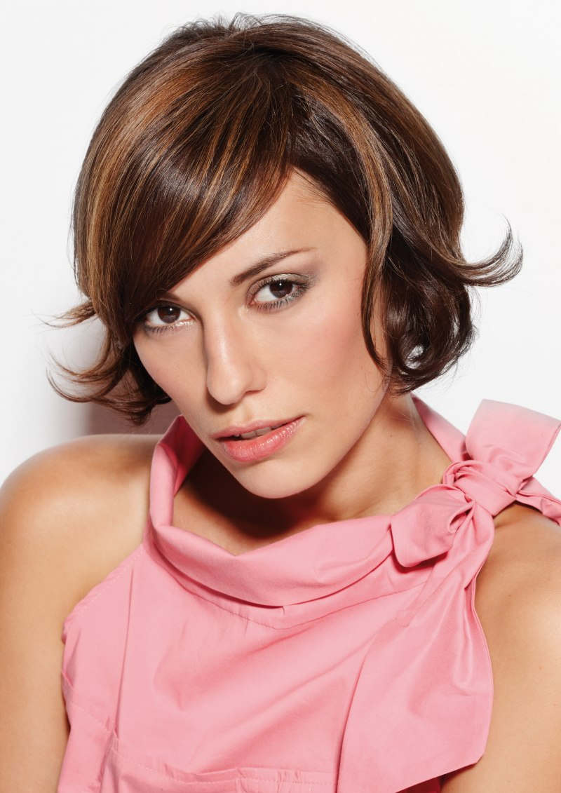 Short Bob Curved Bangs And Wispy Styling