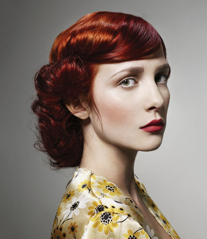 Vintage Updo Inspired By Hairstyles Of The 1940s Two Tones Of Red