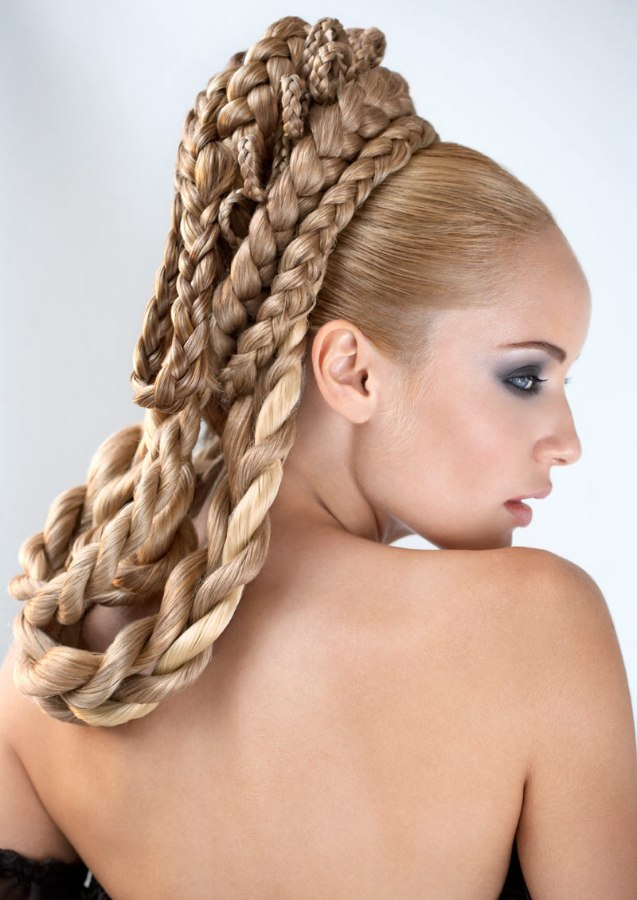 Layered braids of all sizes wrapped in loops around the for Salon locks twists tresses