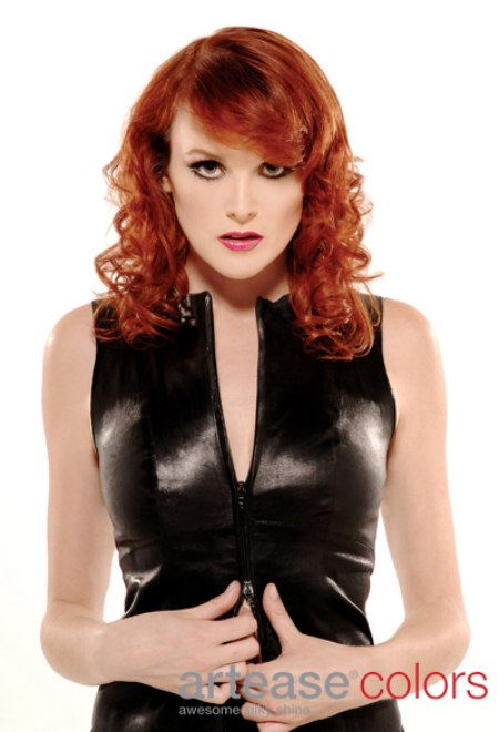 Reddish Copper Hair In A Cut With Curls And A Straight