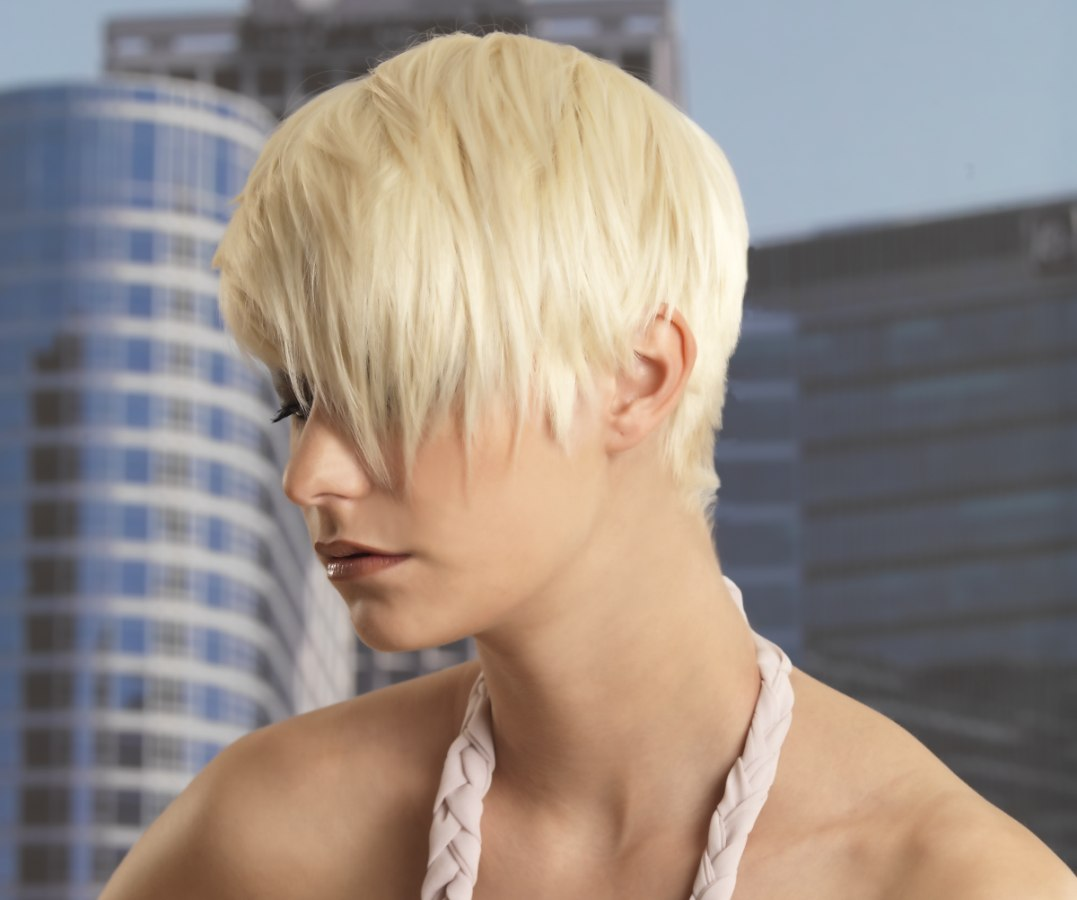 short haircut with a supershort neck and long thick bangs