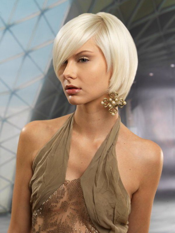 Textured Rounded Bob With A Long Fringe Styled For Smoothness