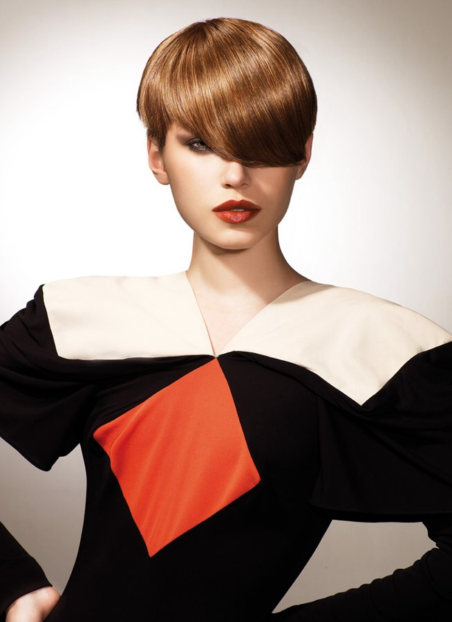 Short Geometric Hairstyle With Deep Bangs