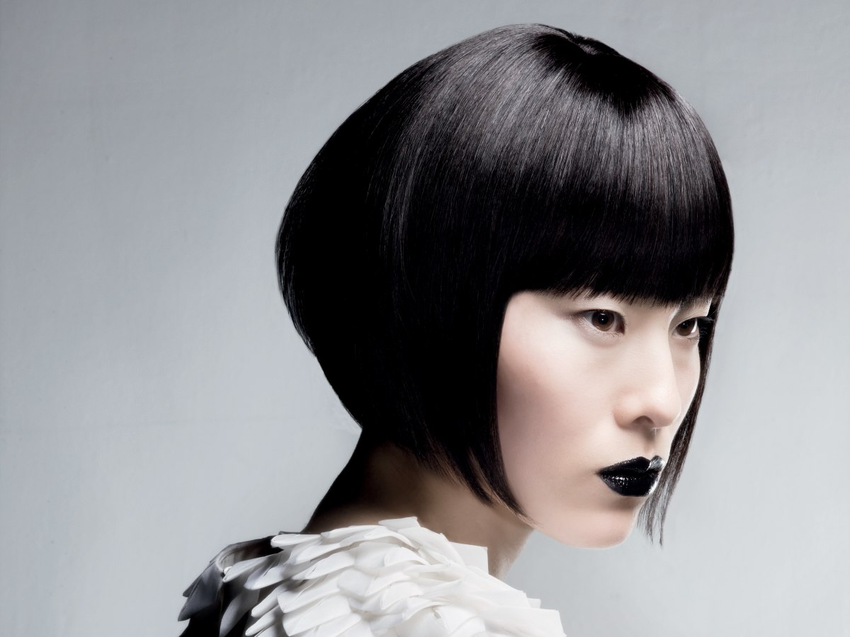 Asian Bob Hairstyle With Sharp Angles Towards The Face