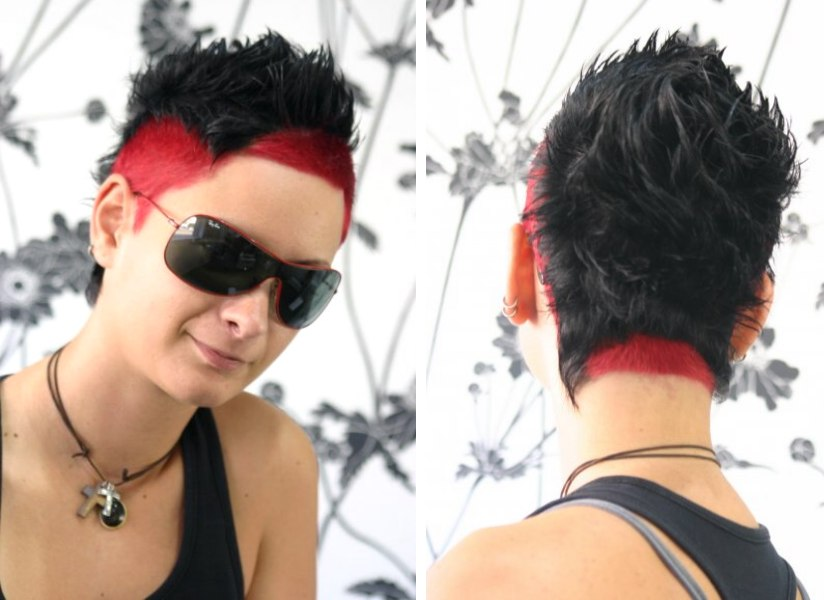 Very short haircut with extreme hair colors