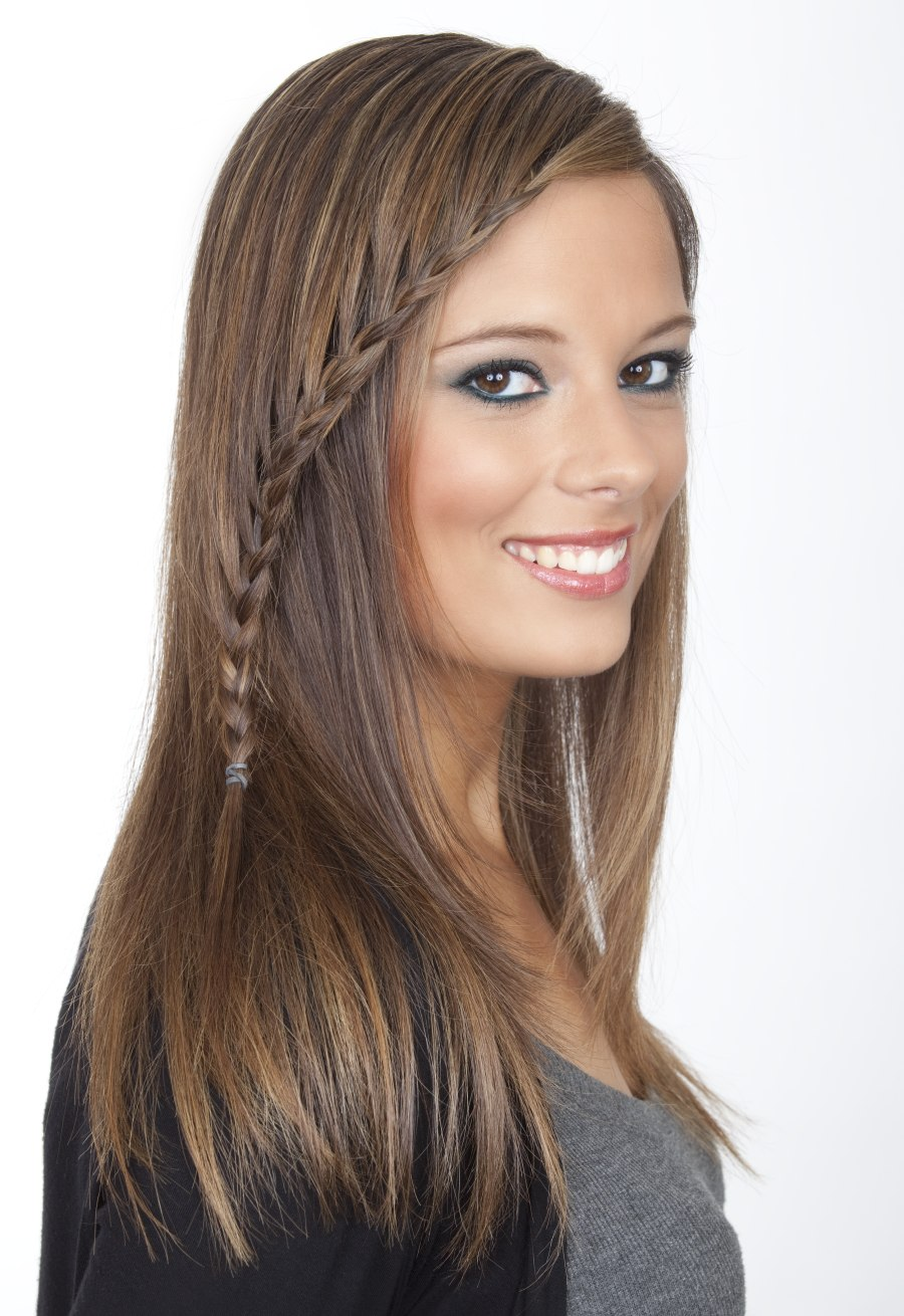 Long Sleek Hair With A Long Thin Braid