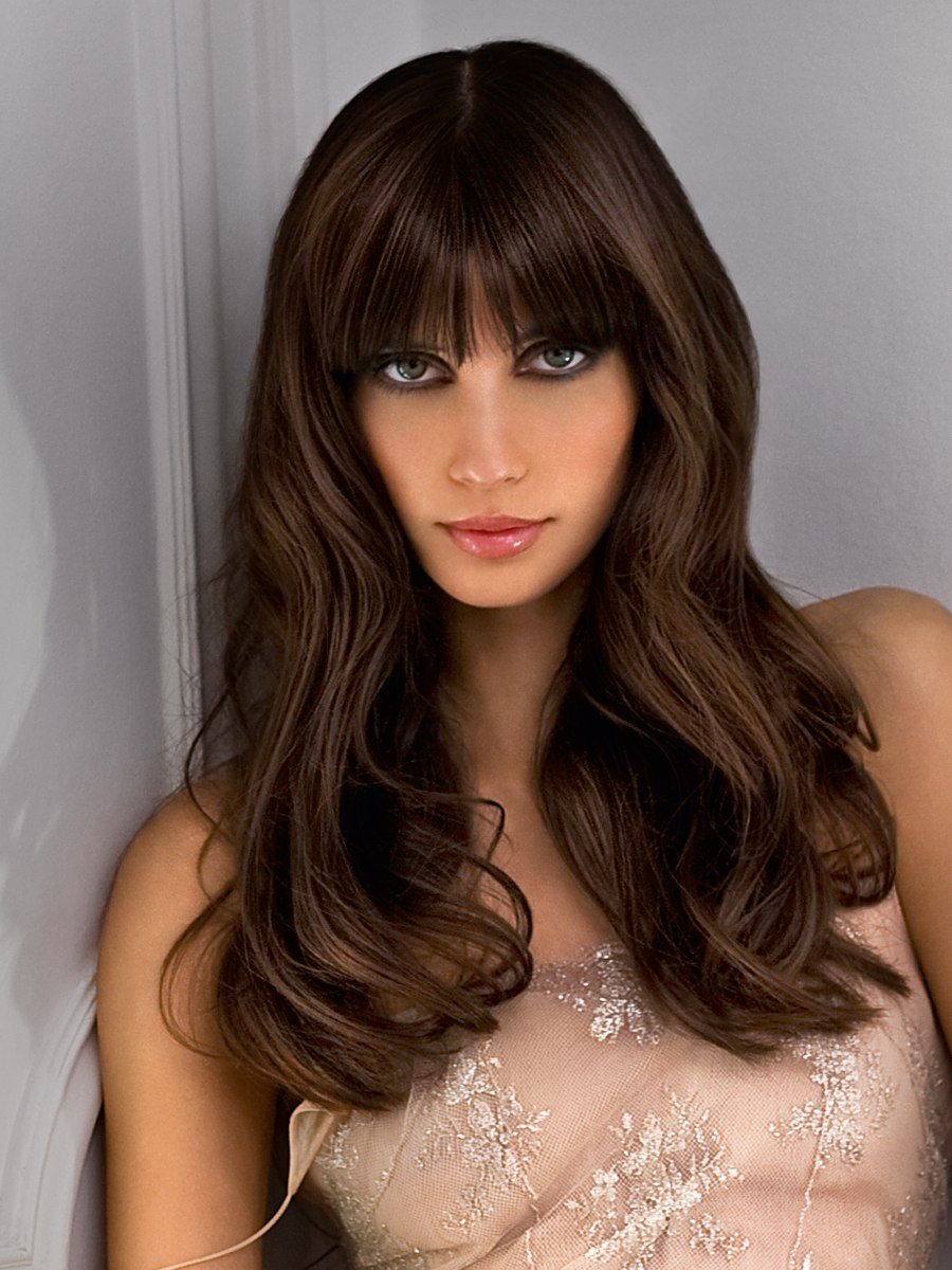 Sultry Long Hair With Deep Bangs