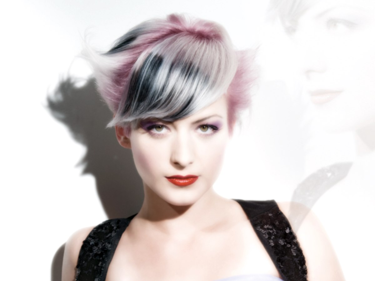 Short Cut With Metallic Pink Platinum And Silver Hair Colors