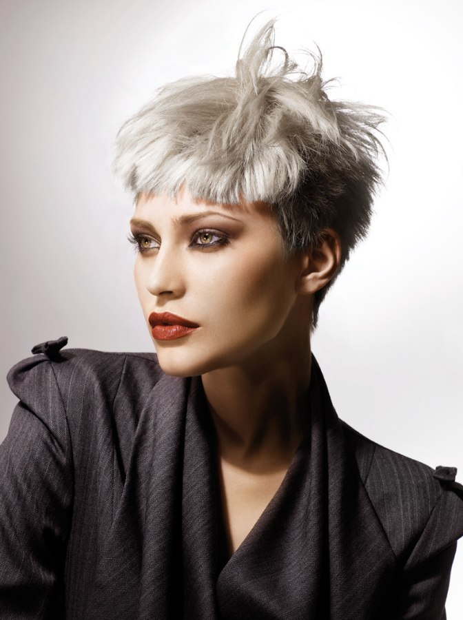 Short Silver Hair With Cropped Sides And Short Bangs - Silver hair styles