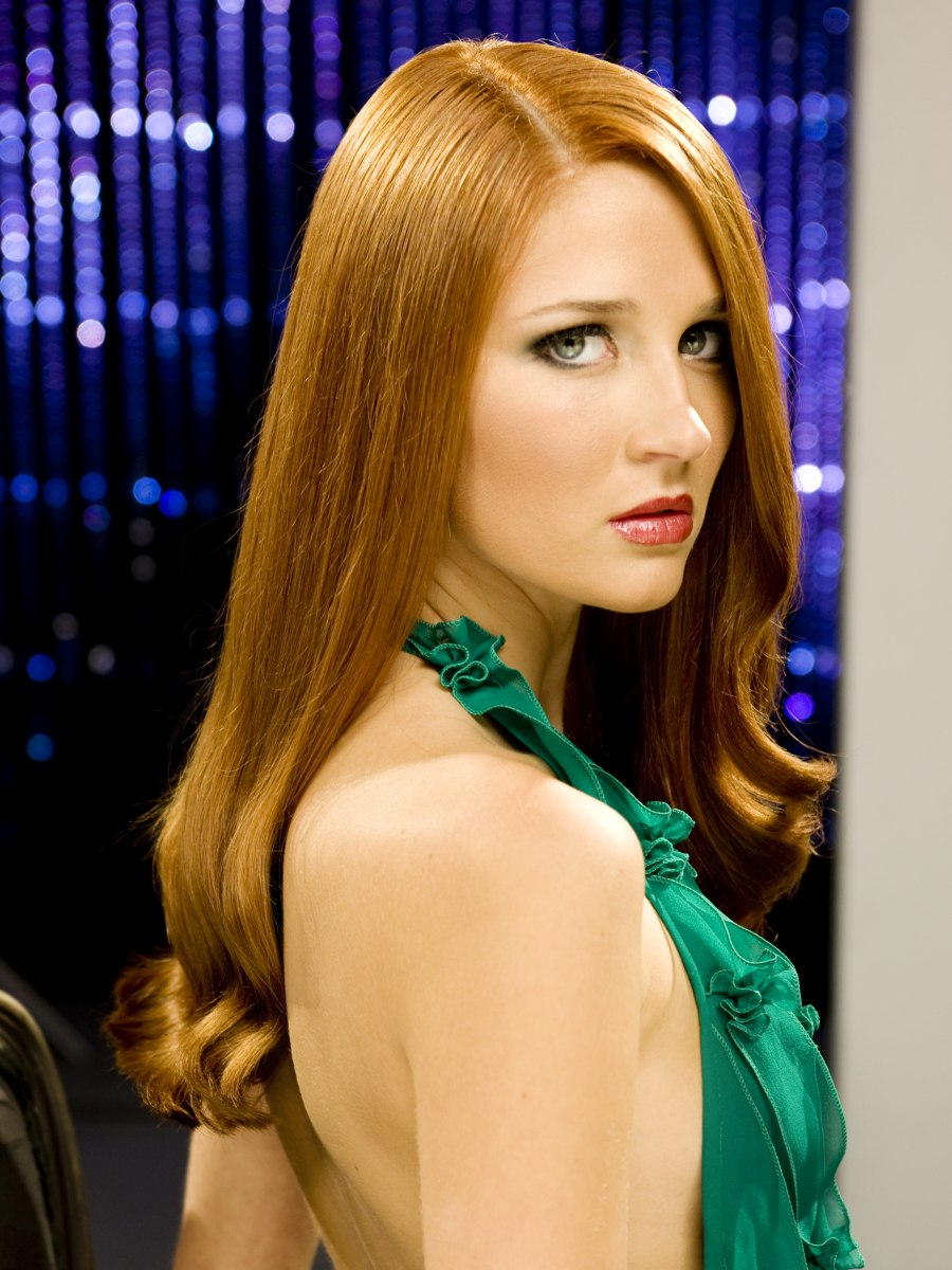 Sleek Red Hair To Enhance A Pale Skin And Green Eyes