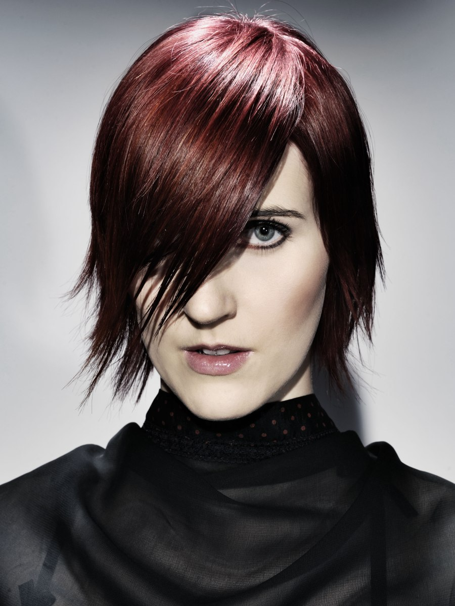 Goth Inspired Short Hairstyle With A Slender Shape And