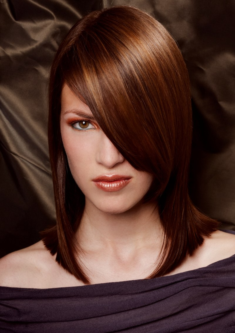 Medium Length Bob With A Blunt Line Touching The Shoulders