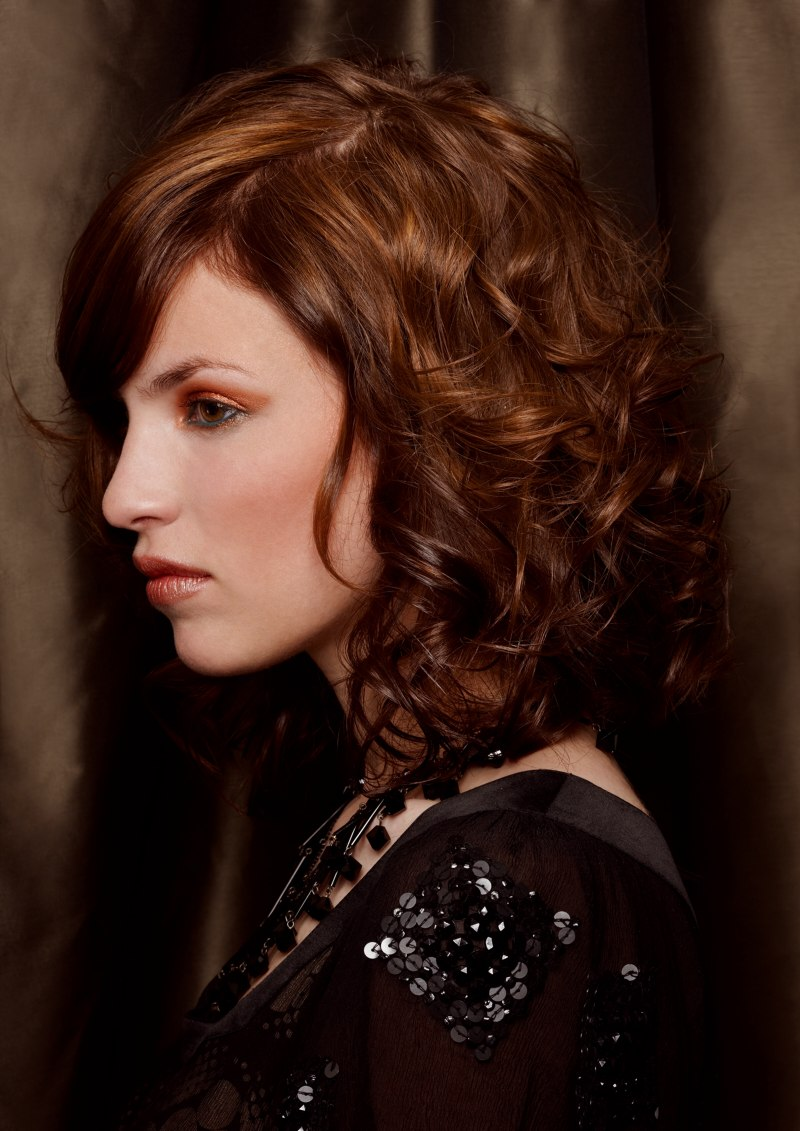 Long Curly Bob Hairstyles Curled Medium Long Bob With Color Transitions Side View