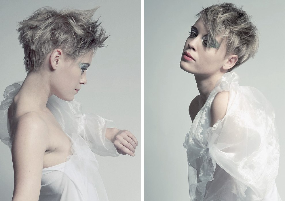 Chopped And Feathery Short Hairstyle Silver Gray Hair Color