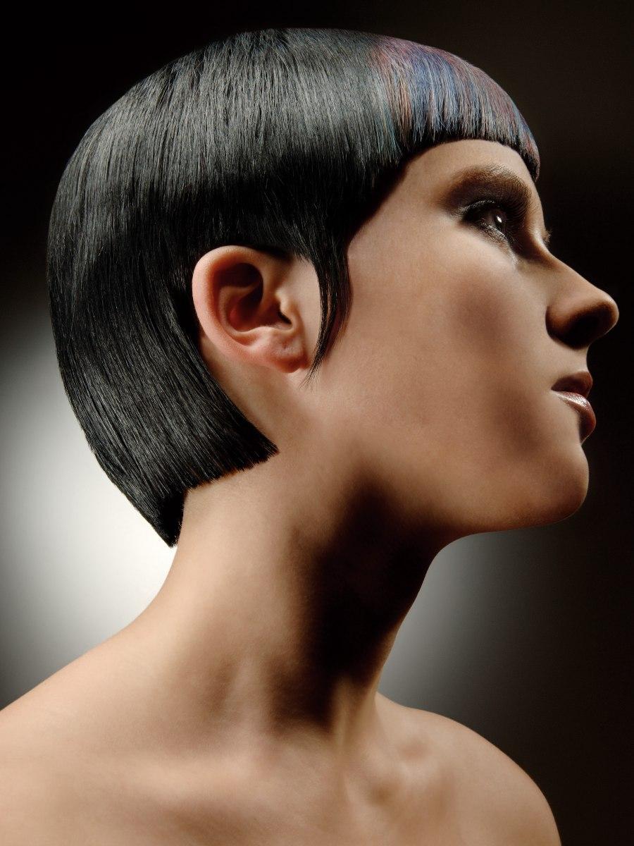 Sleek Geometric Cut For Slick Blue Black Hair That