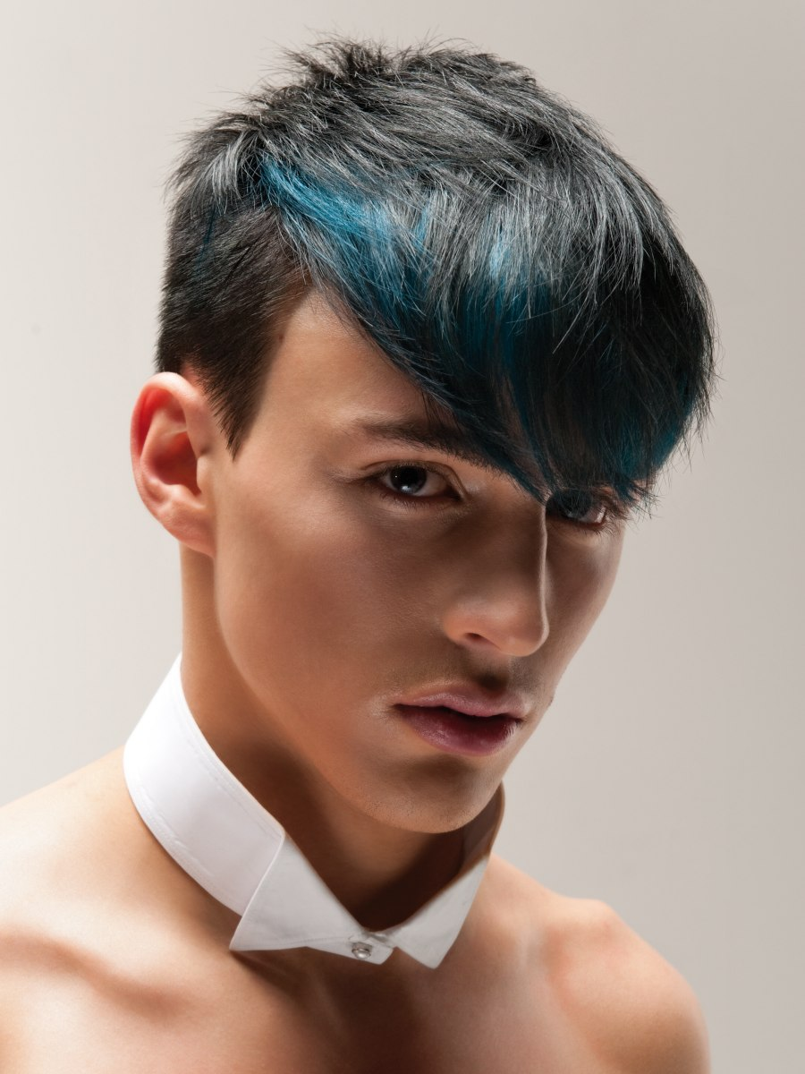 buzzcut short mens hair and longer top hair with a blue