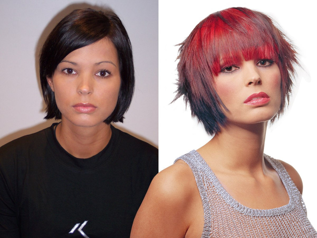 Bright red bob haircut with layers and full bangs | Makeover