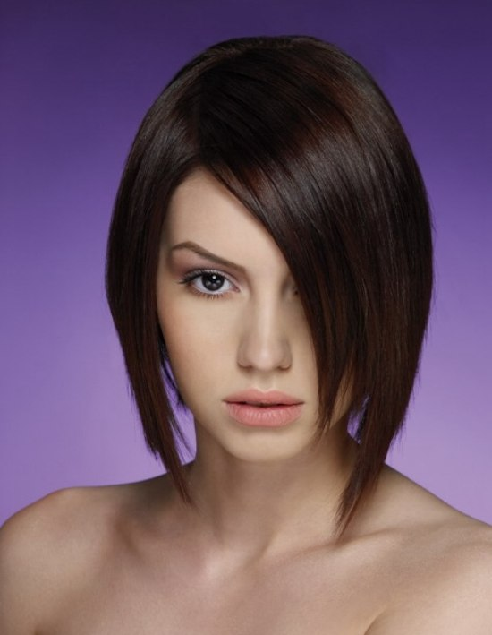 a line bob hairstyle pictures. sleek A-line bob