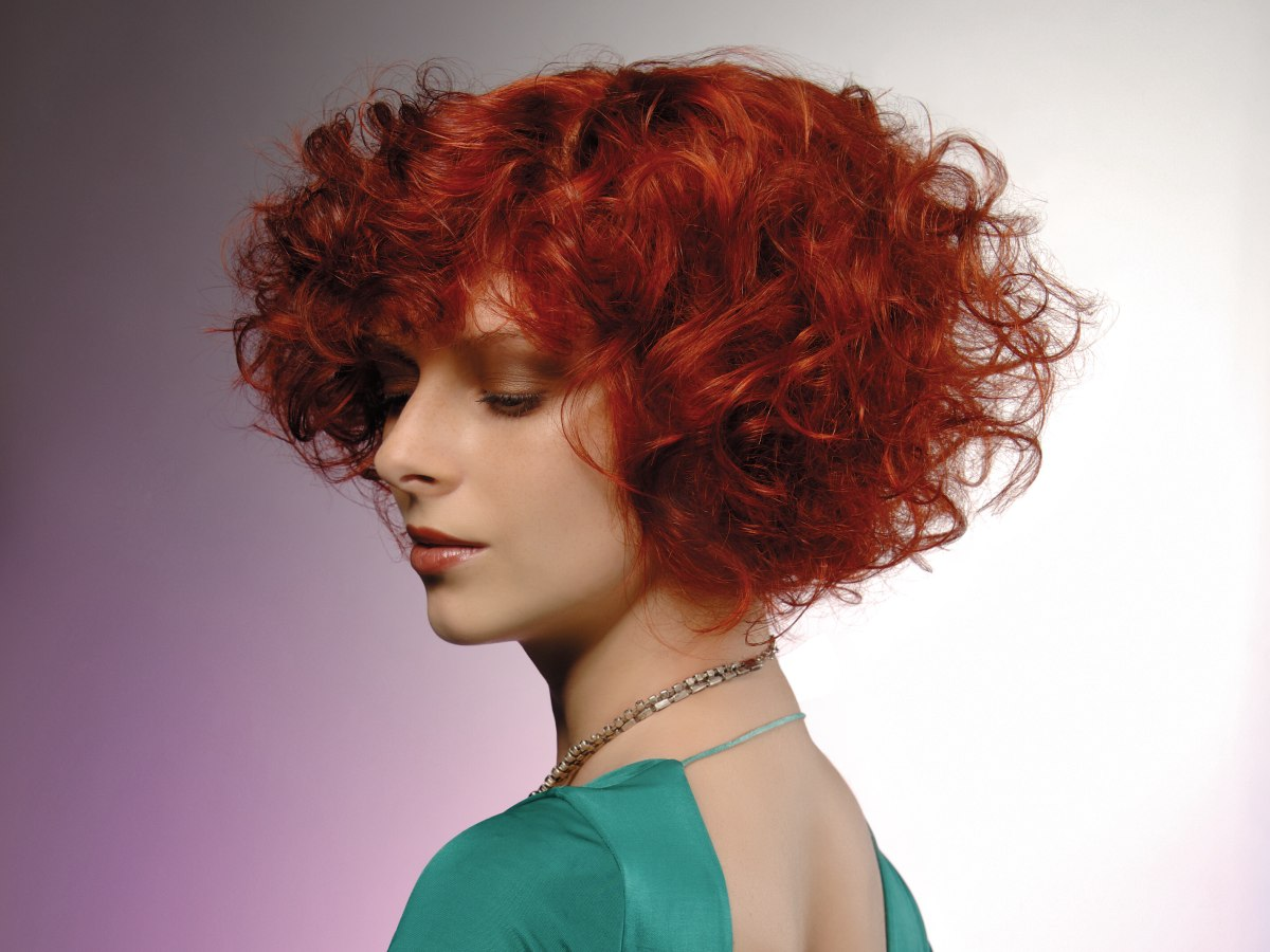 Chin Length Red Hair With Curls