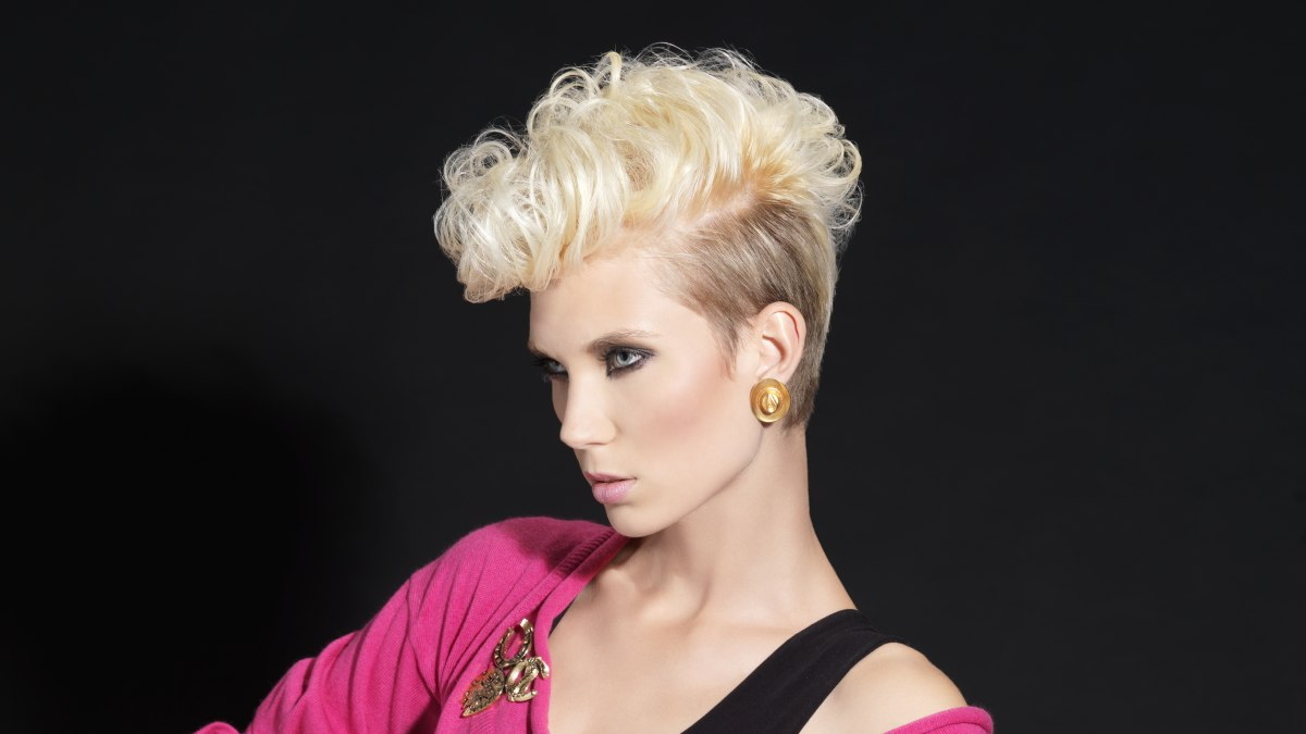 short 80s retro hairstyle with tapered sides and back