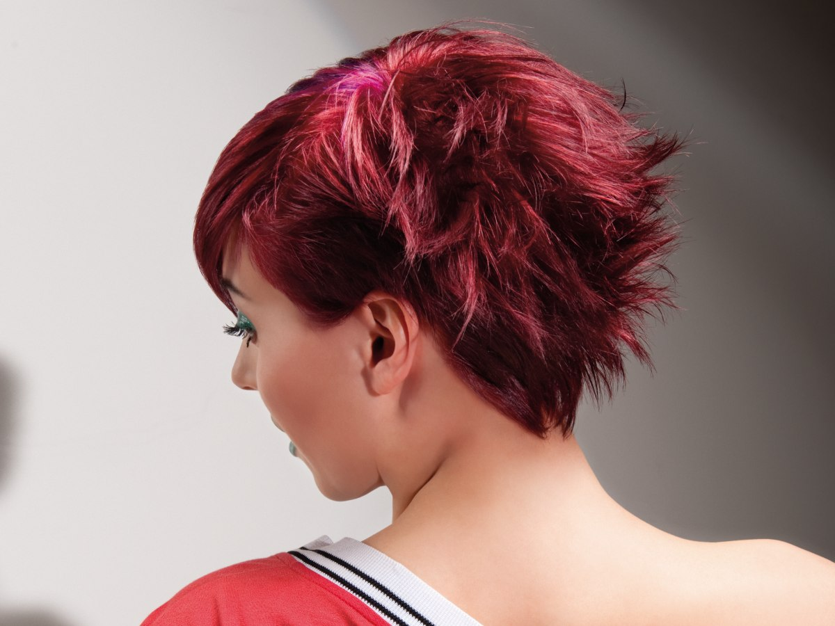 8 Hairstyles: Short Hairstyle With A Mussed Backside And Bright Red Tones