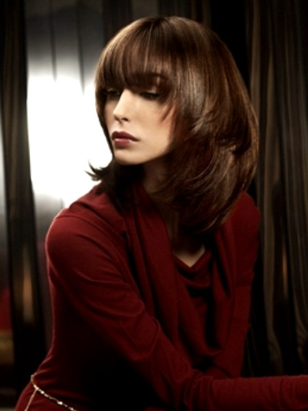 Long Layered Hairstyle With Angled Sides
