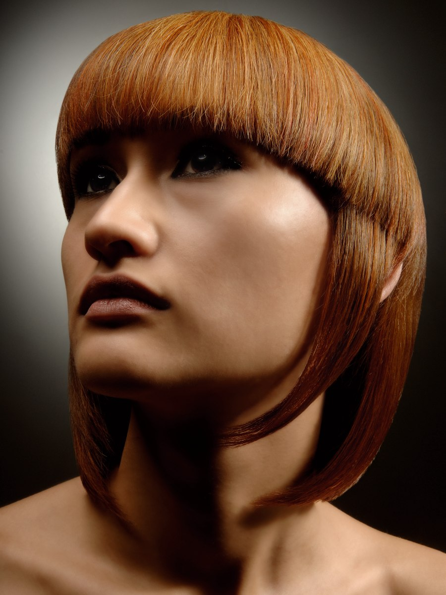 Jellyfish Shaped Hairstyle With Blunt Cut Bangs That